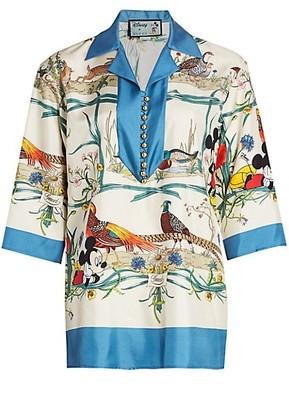 Gucci Mickey & Floral Print Silk Twill Tunic Top