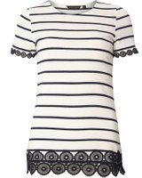 Dorothy Perkins Womens Nacy and ivory stripe lace trim tee- Blue