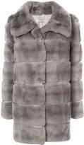 Yves Salomon straight fit panelled fur coat