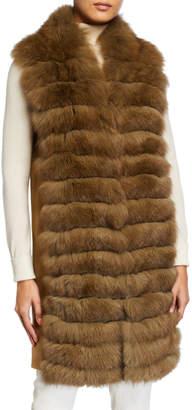 Belle Fare Cashmere & Fox Fur Tunic Vest