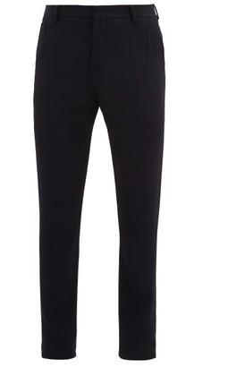 Giorgio Armani Single-pleat Slim-fit Wool-blend Trousers - Mens - Navy
