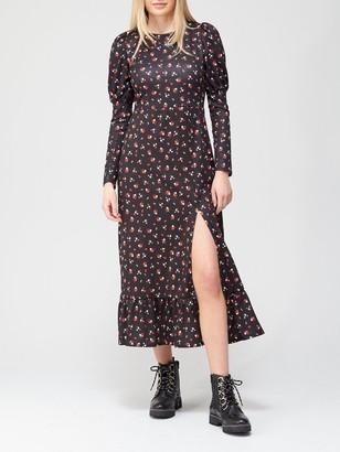 River Island Long Puff Sleeve Dress - Black Print