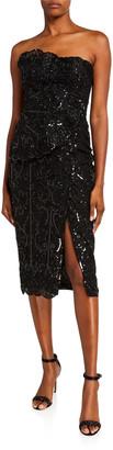 ZUHAIR MURAD Alicante Sequined Strapless Dress