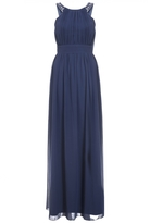Quiz Navy Chiffon Embellished High Neck Maxi Dress