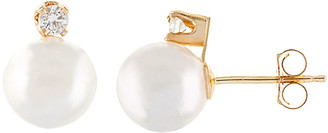 Splendid Pearls 14K 0.10 Ct. Tw. Diamond & 7-7.5Mm Akoya Pearl Earrings