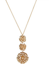 Alexis Bittar Crystal Burst Triple Sphere Long Pendant Necklace