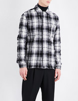 Haider Ackermann Checked creased regular-fit brushed-cotton shirt