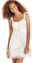 Amy Byer Juniors Dress, Sleeveless Glitter Tulle A-Line