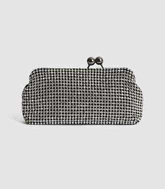 Reiss Bell - Embellished Clutch in Silver