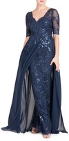 Teri Jon By Rickie Freeman Layered Chiffon & Sequin Gown