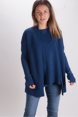 Kinross Cashmere Waterfall Cardigan In Navy - Small