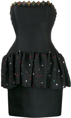 Yves Saint Laurent Pre Owned 1980's Strapless Peplum Dress