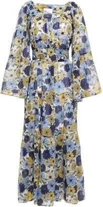 Lisa Marie Fernandez Belted Floral-print Cotton-voile Maxi Dress