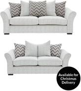 Cavendish Chevron 3-Seater + 2-Seater Fabric Sofa Set
