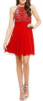 Xtraordinary High Neckline Beaded Bodice Swing Dress