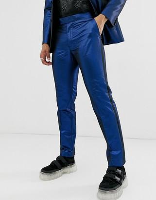 ASOS DESIGN slim tuxedo suit trousers in blue metallic jacquard