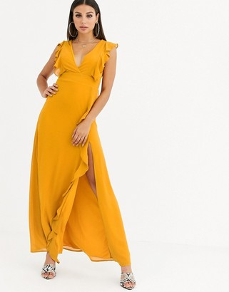 TFNC cross back short sleeve maxi dress with frill detail-Yellow
