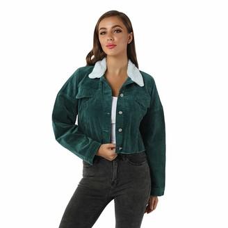 Lazzboy Women Lazy Boy Jacket Womens Coat Corduroy Teddy Fleece Lapel Solid Casual Loose Pocket Chunky Fluffy Short Sherpa Parka Outwear (L(UK 20)