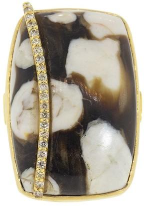 GUITA M 18kt Yellow Gold Diamond Peanut Wood Ring