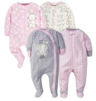 Gerber Baby Girl Zip Front Sleep N Play Pajamas with Mitten Cuffs, 4-Pack