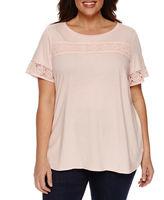 Claiborne Short Sleeve Crew Neck T-Shirt-Plus