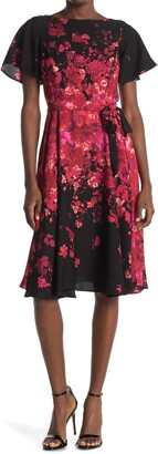 Gabby Skye Flutter Sleeve Floral Belted Crepe Dress