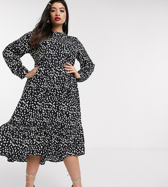 Never Fully Dressed Plus trapeze maxi dress with ruffle hem in mono fleck print