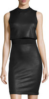 French Connection Faux-Leather Sleeveless Popover Dress, Black