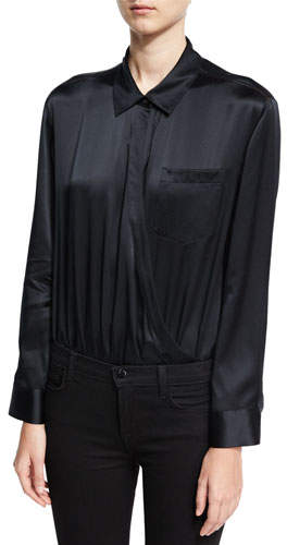 Alexander Wang Long-Sleeve Wrap Shirt Bodysuit W/ Threadwork, Black