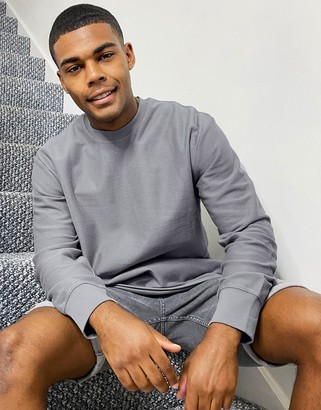 Topman crew neck sweat in grey