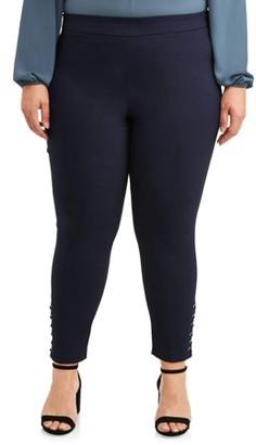 Zac & Rachel Women's Plus Size Slim Leg Millennium Ankle Pants