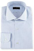 Ike Behar Gold Label Windowpane Check Dress Shirt, White/Blue