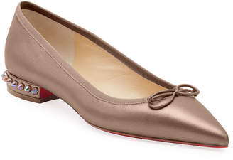 Christian Louboutin Hall Spike-Heel Leather Red Sole Flats