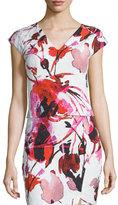 Sachin + Babi Cap-Sleeve Floral Crop Top
