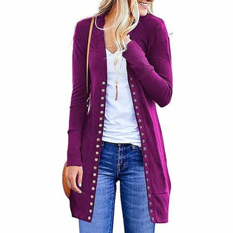 VESNIBA Cardigan Sweaters for Women Long Sleeve Snaps Button Down V Neck Soft Basic Knit Cardigan Open Front Sweater (L/UK 12