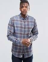 Pull&bear Lightweight Check Shirt In Blue And Green In Regular Fit