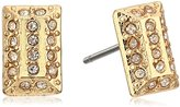 Jessica Simpson Hammered Square Gold Stud Earrings