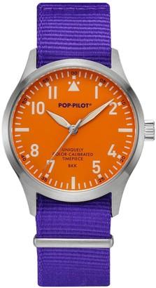 Pop Pilot Pop-Pilot Unisex BKK Quartz Watch with Orange Dial Analogue Display and Purple Nylon Strap