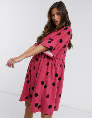 ASOS DESIGN mini smock dress with frill sleeve in raspberry and black spot