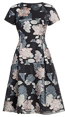 Teri Jon by Rickie Freeman Floral Jacquard Metallic Organza A-Line Dress