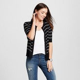Merona Women's Short Sleeve Stripe Crewneck Jersey Cardigan Black/Cream