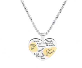 Two Tone Solid Stainless Steel Heart Pendant Necklace by Pink Box BEST FRIEND