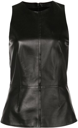 Proenza Schouler Sleeveless Leather Peplum Top