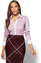 New York & Co. 7th Avenue SecretSnap Madison Stretch Shirt - Violet