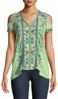 Johnny Was Clover Cold-Shoulder Embroidered Tee
