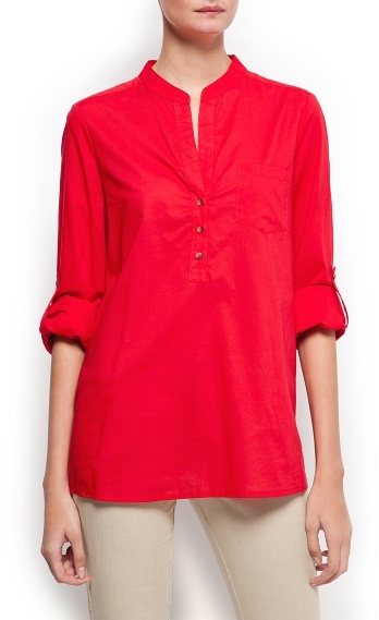 MANGO Loose-fit blouse with pocket