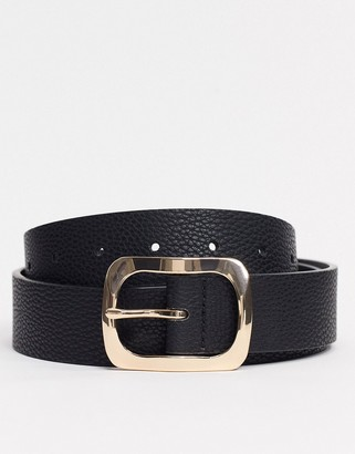 ASOS DESIGN wide belt in black faux leather with gold buckle
