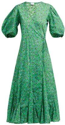 Rhode Resort Fiona Floral-print Cotton Wrap Dress - Womens - Green Print