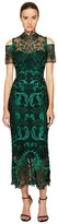 Marchesa Guipure Lace Ankle Length Cocktail w/ Cold Shoulder Women's Dress