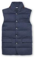 Ralph Lauren Purple Label - Lloyd Suede-trimmed Quilted Herringbone Wool Down Gilet